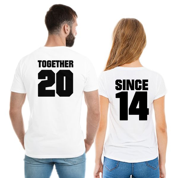 34a5a10254 Camiseta Casal Personalizada Together Since CA0724 - Empório Camiseteria ...