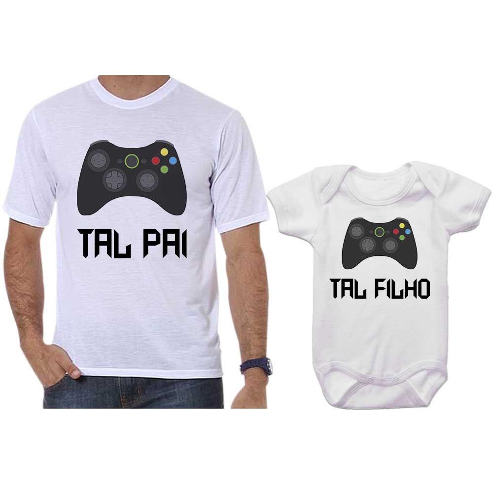 f84bd7e21a63bf Camiseta e Body Tal Pai Tal Filho Vídeo Game X Box