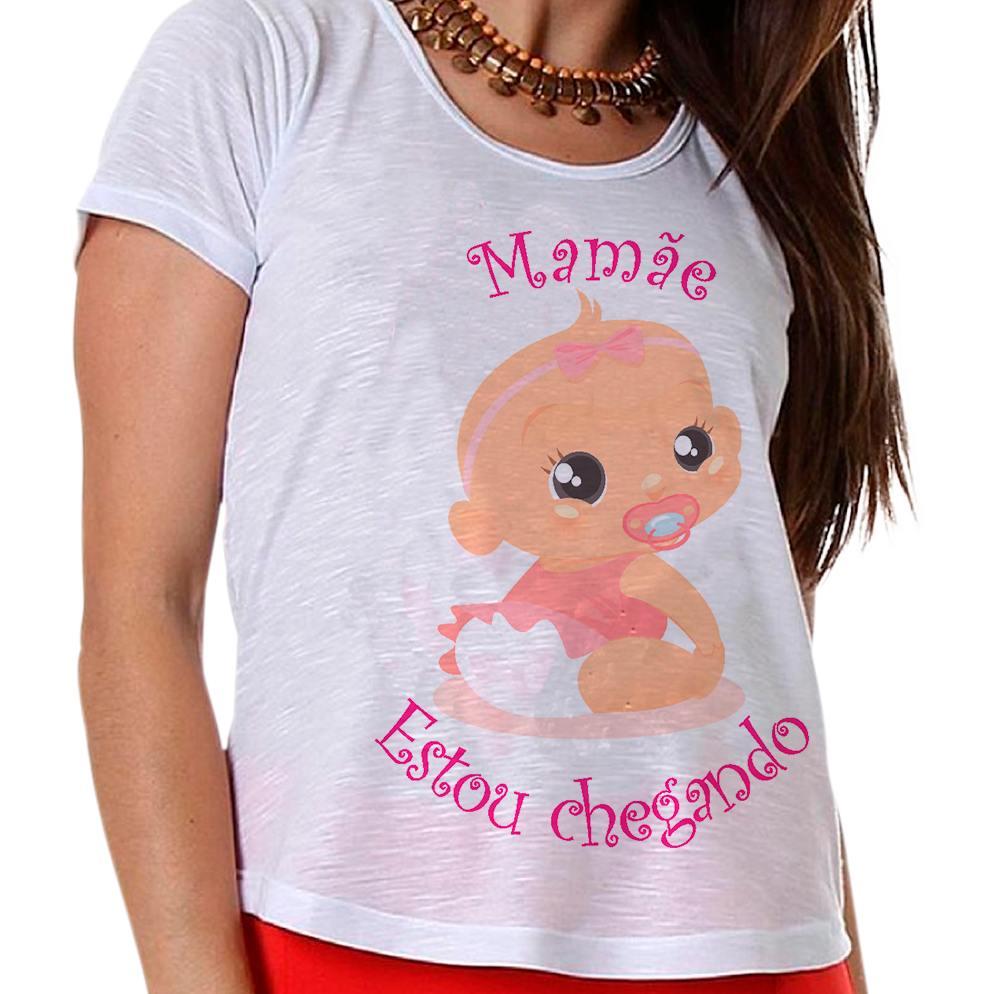 Camiseta Gestante Bebê Menina Mamãe Estou Chegando