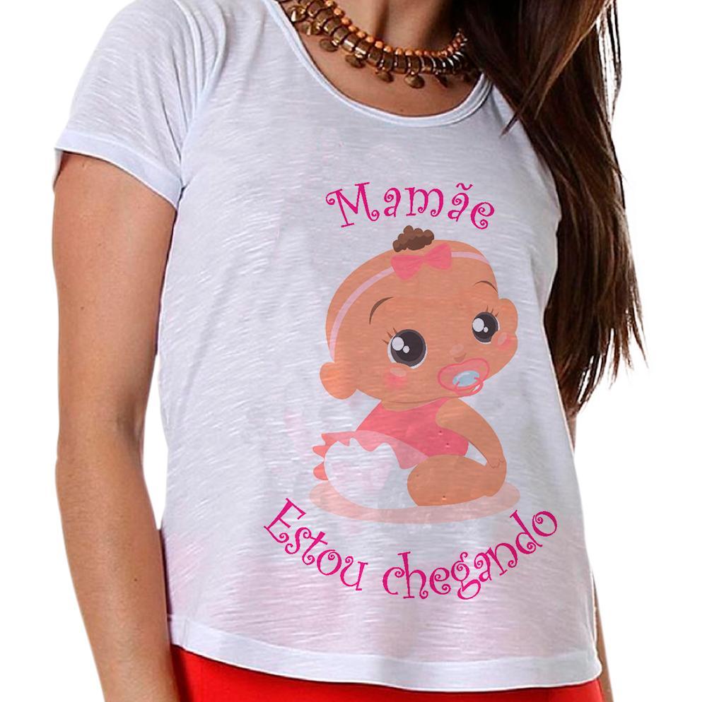 Camiseta Gestante Bebê na Barriga Menina Mamãe Estou Chegando