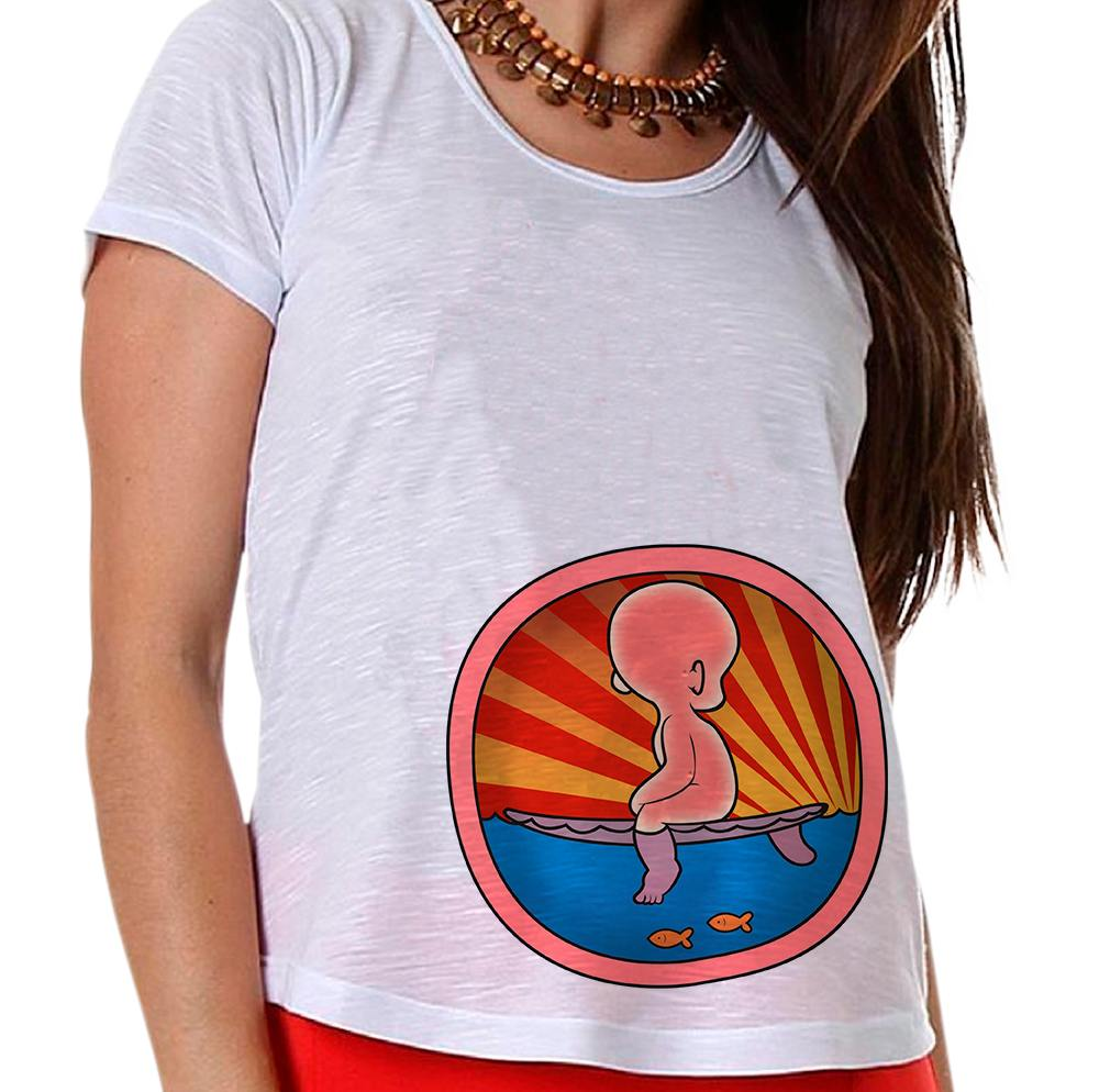 Camiseta Gestante Bebê Surfista