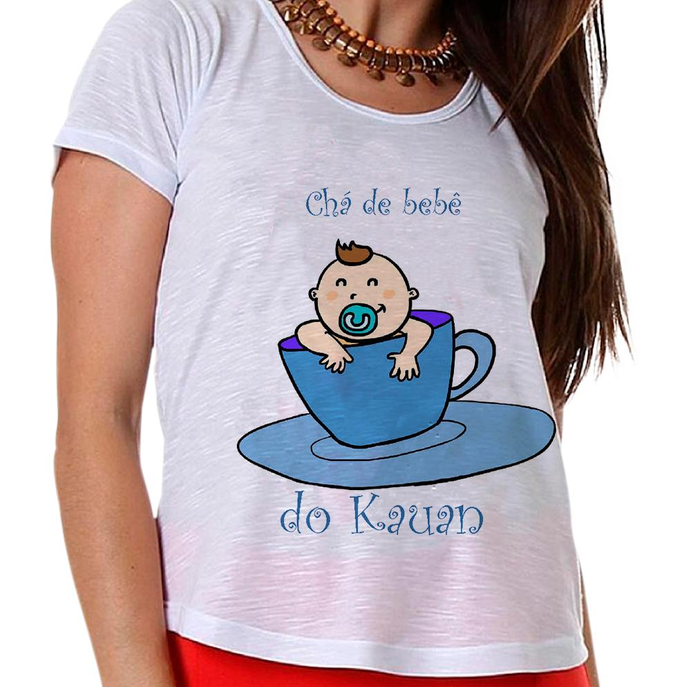 Camiseta Gestante Chá de Bebê Menino Bebê na Xícara Azul