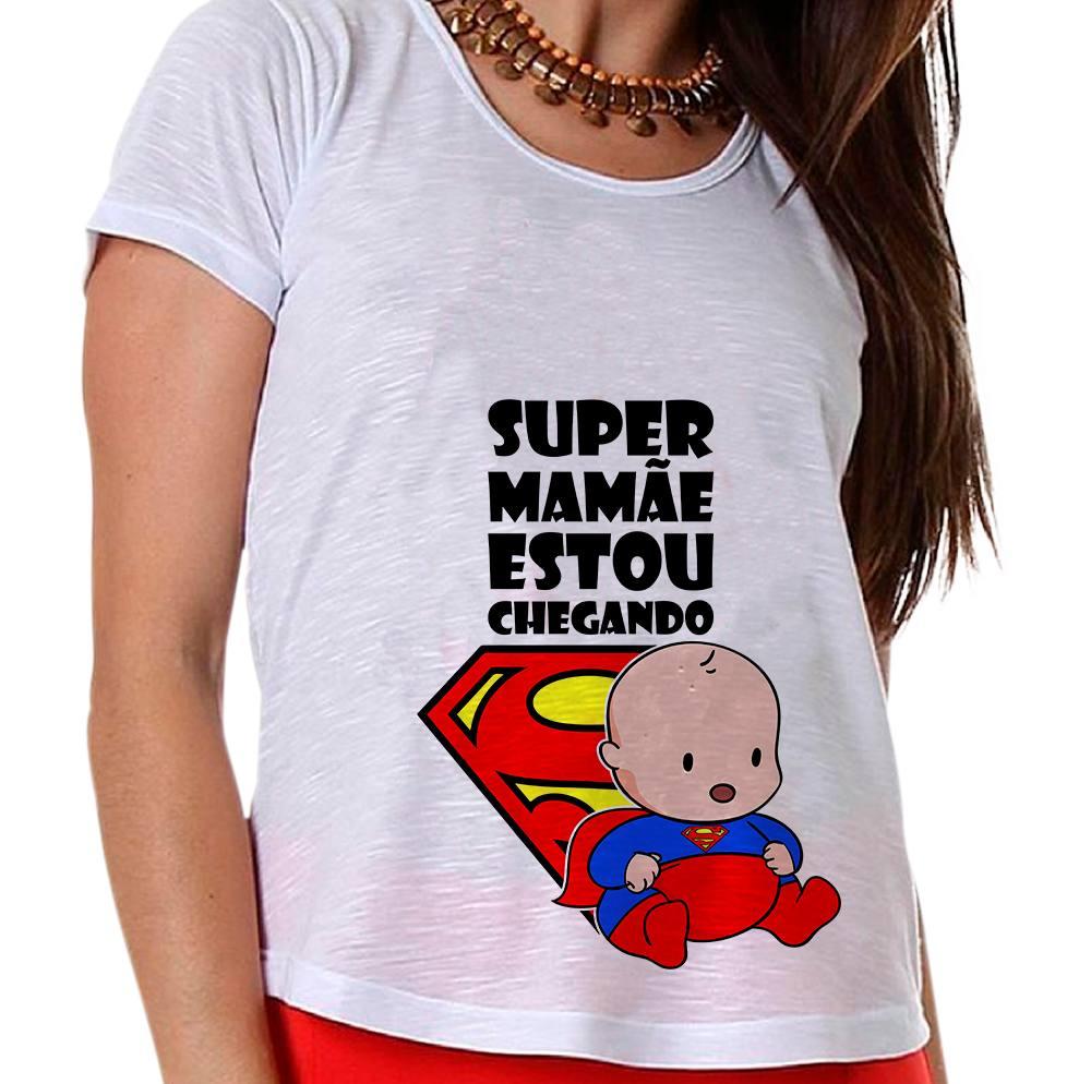Camiseta Gestante Super Mamãe Estou Chegando