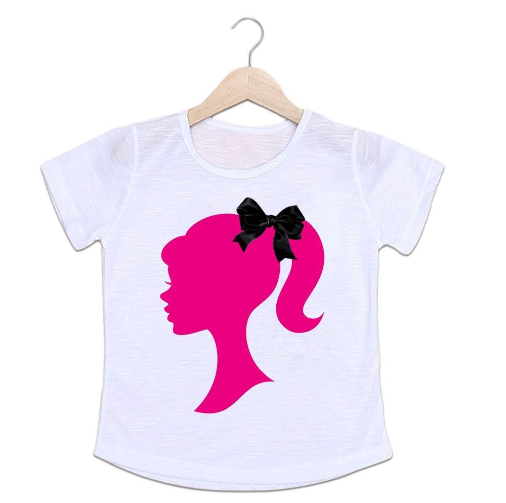Camiseta Infantil Barbie Laço Preto
