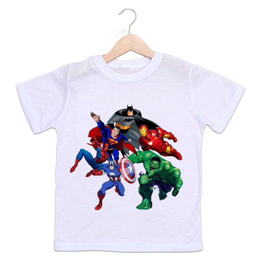 Camiseta Infantil Super Heróis - Liga da Justiça e Os vingadores