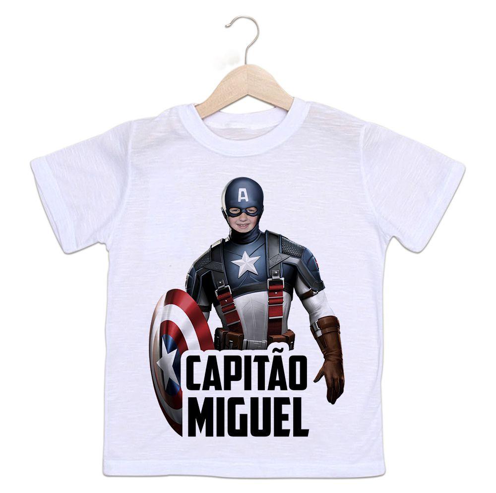 Camiseta Personalizada Infantil Capitão América