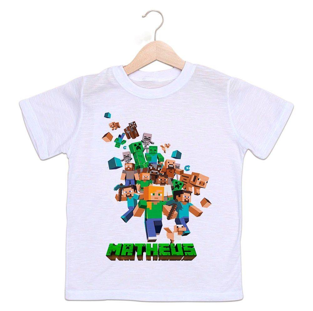 Camiseta Personalizada Infantil Jogo MineCraft
