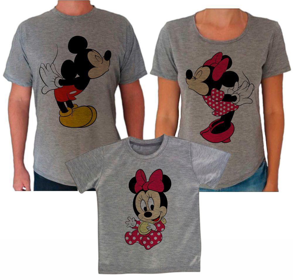 af5d9c71571c Camisetas Cinza Família Mickey e Minnie CA0617 - Empório Camiseteria