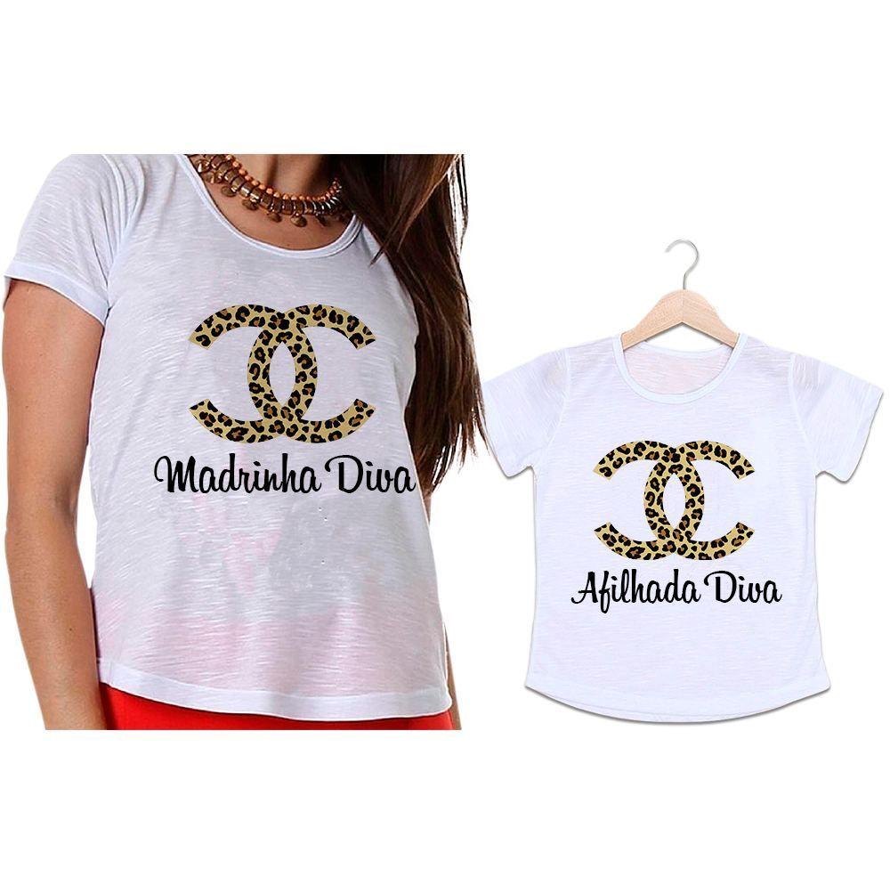 Camisetas Madrinha e Afilhada Chanel Oncinha Diva