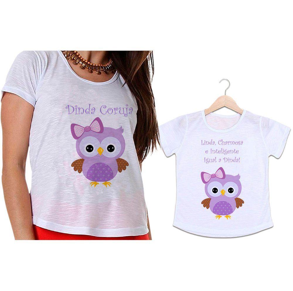Camisetas Madrinha e Afilhada Charmosa e Inteligente Igual a Dinda
