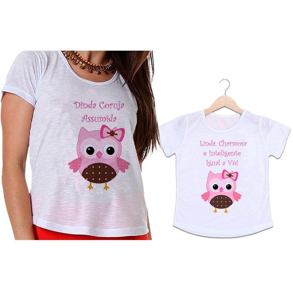 Camisetas Madrinha e Afilhada Coruja Linda, Charmosa e Inteligente Igual a Dinda