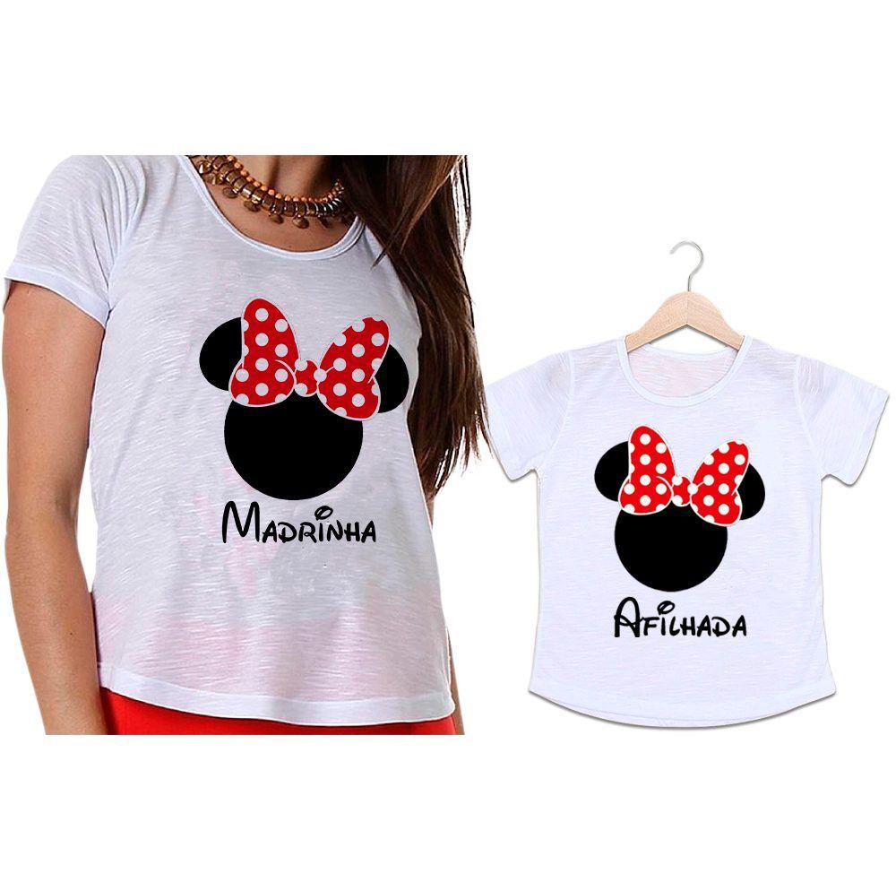 Camisetas Madrinha e Afilhada Minnie Laço Vermelho