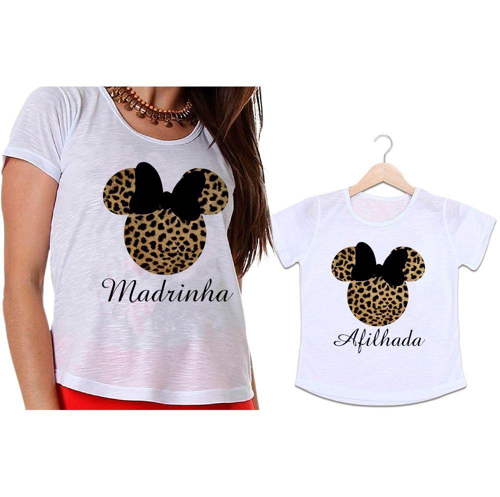 Camisetas Madrinha e Afilhada Minnie Onça Laço Preto