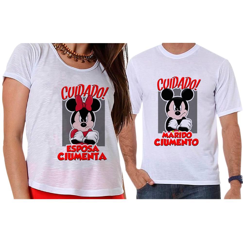 00805d83d4 Camisetas Mickey e Minnie Marido e Esposa Ciumentos Empório Camiseteria