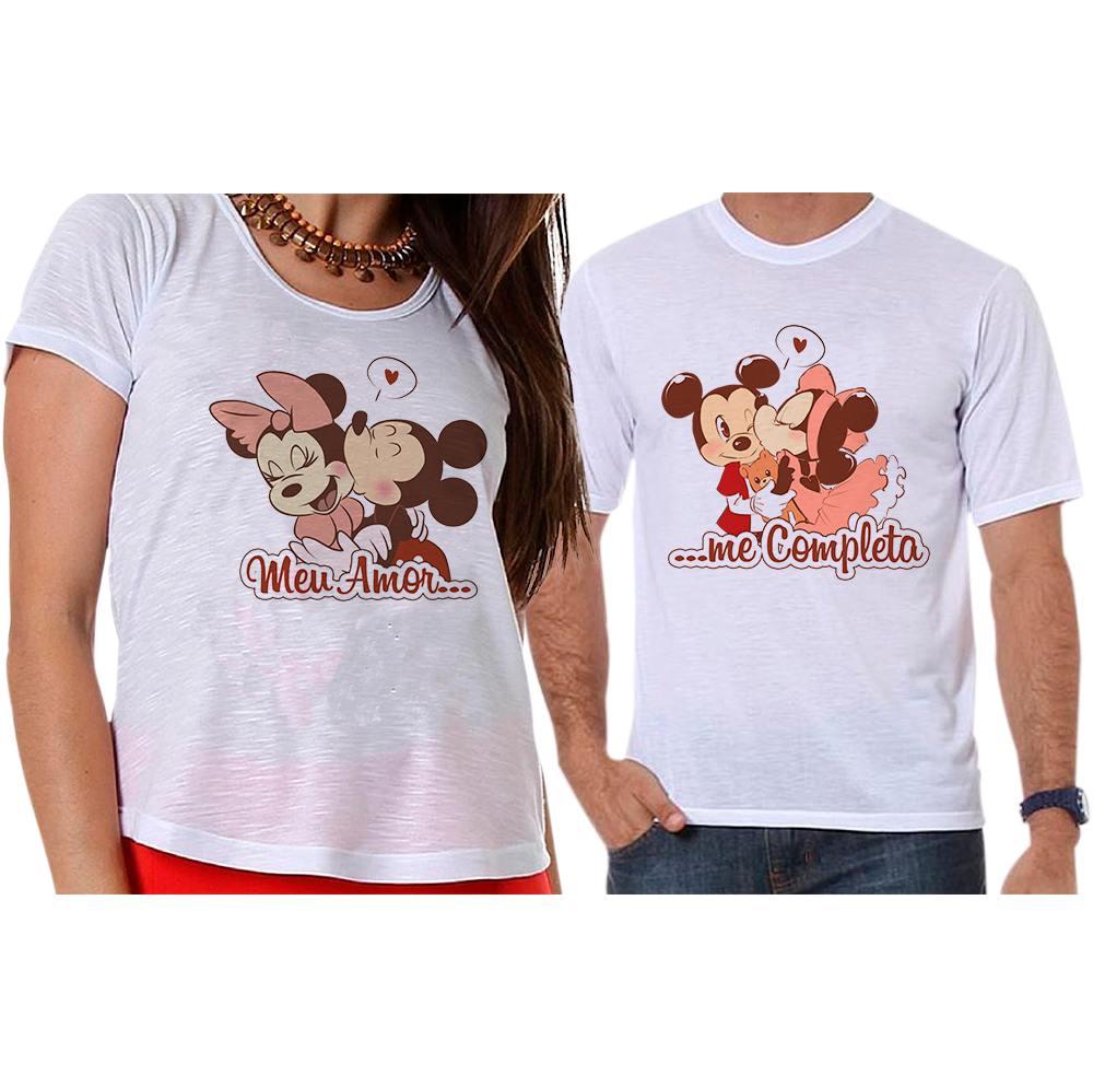 Camisetas Mickey e Minnie Meu Amor Me Completa