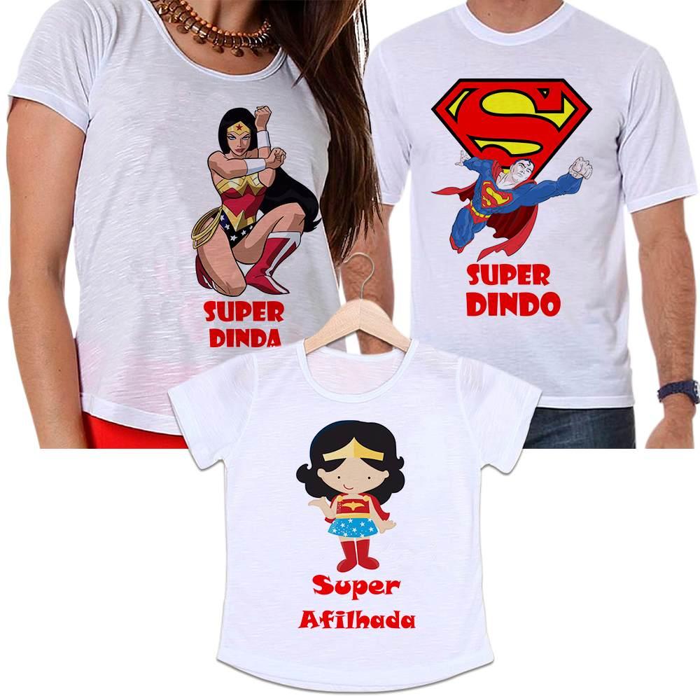 Camisetas Padrinho, Madrinha e Afilhada Super Dindos
