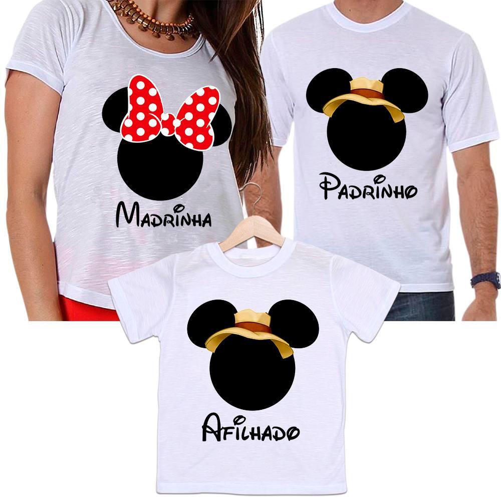 Camisetas Padrinho, Madrinha e Afilhado Minnie Laço Vermelho e Mickey Safari