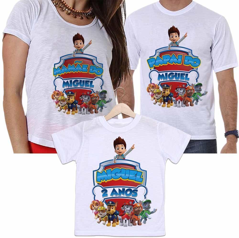 Camisetas Personalizadas Aniversário Tal Pai, Tal Mãe e Tal Filho Desenho Patrulha Canina
