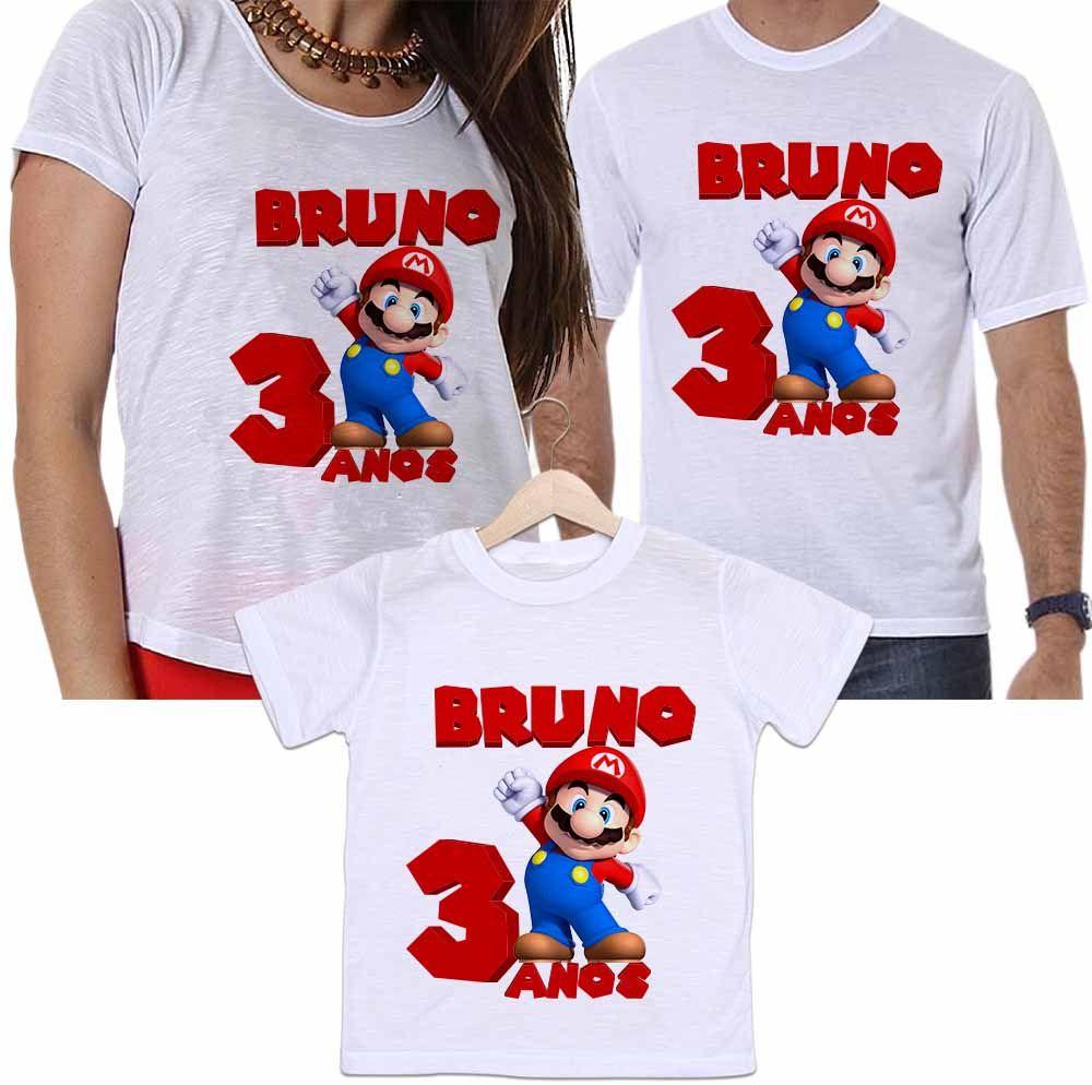b2f41fa8e66665 Camisetas Personalizadas Aniversário Tal Pai, Tal Mãe e Tal Filho Super  Mário