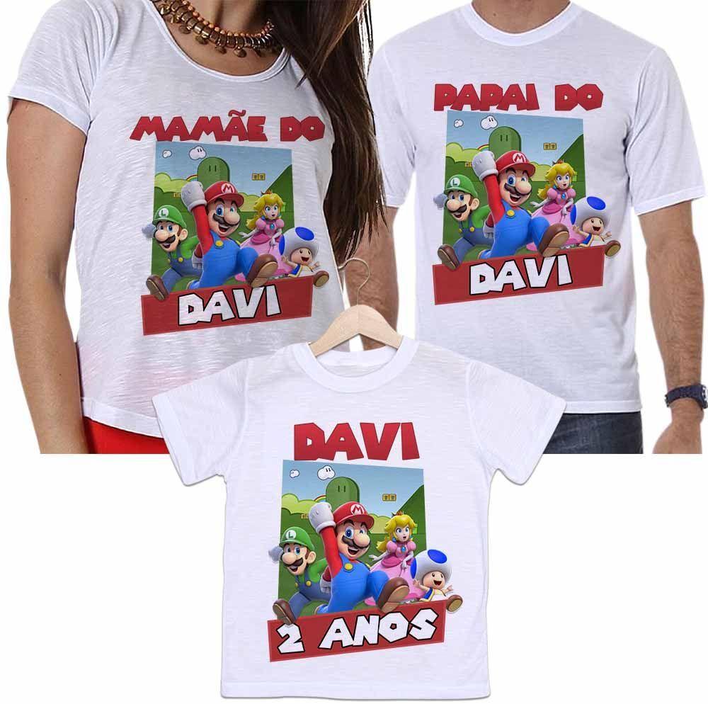 Camisetas Personalizadas Aniversário Tal Pai, Tal Mãe e Tal Filho Super Mário Bross