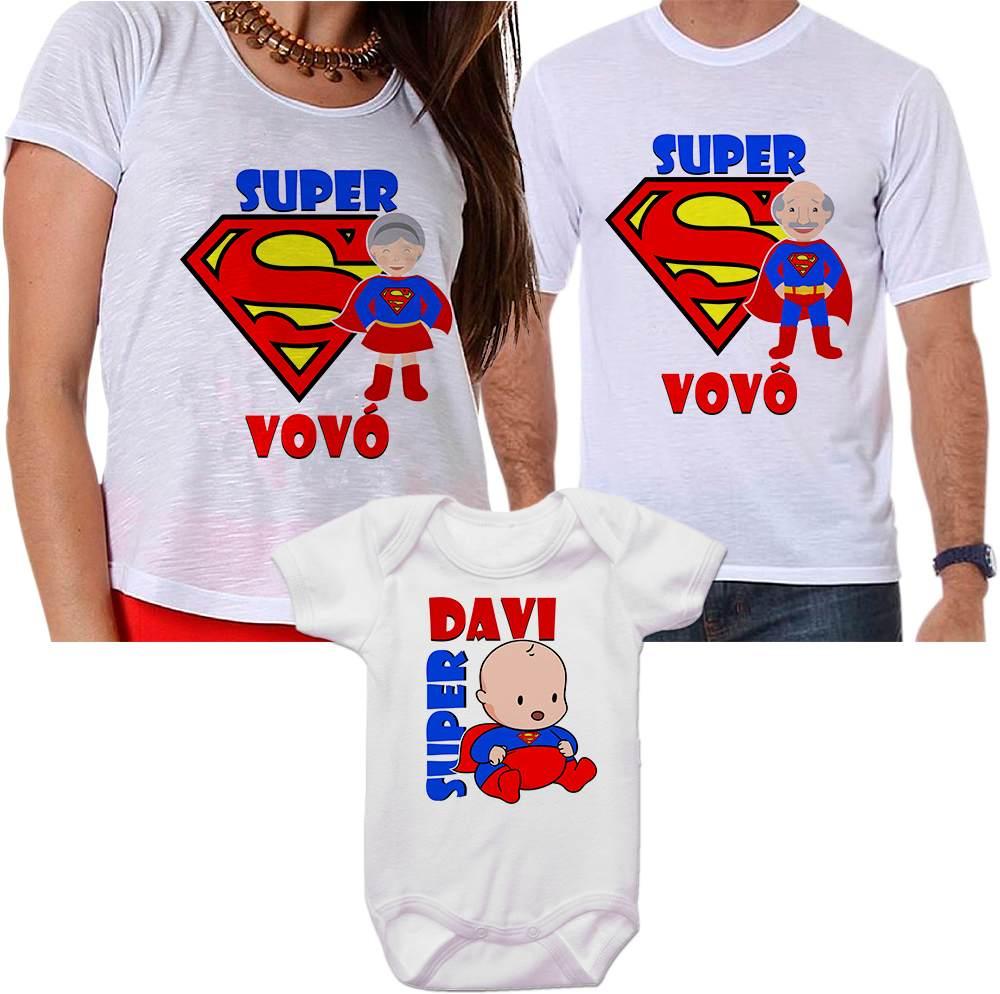 3384c81aa832c3 Camisetas Personalizadas Super Vovô, Super Vovó e Super Neto