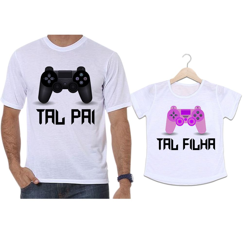 Camisetas Tal Pai Tal Filha Controle Vídeo Game Playstation PS