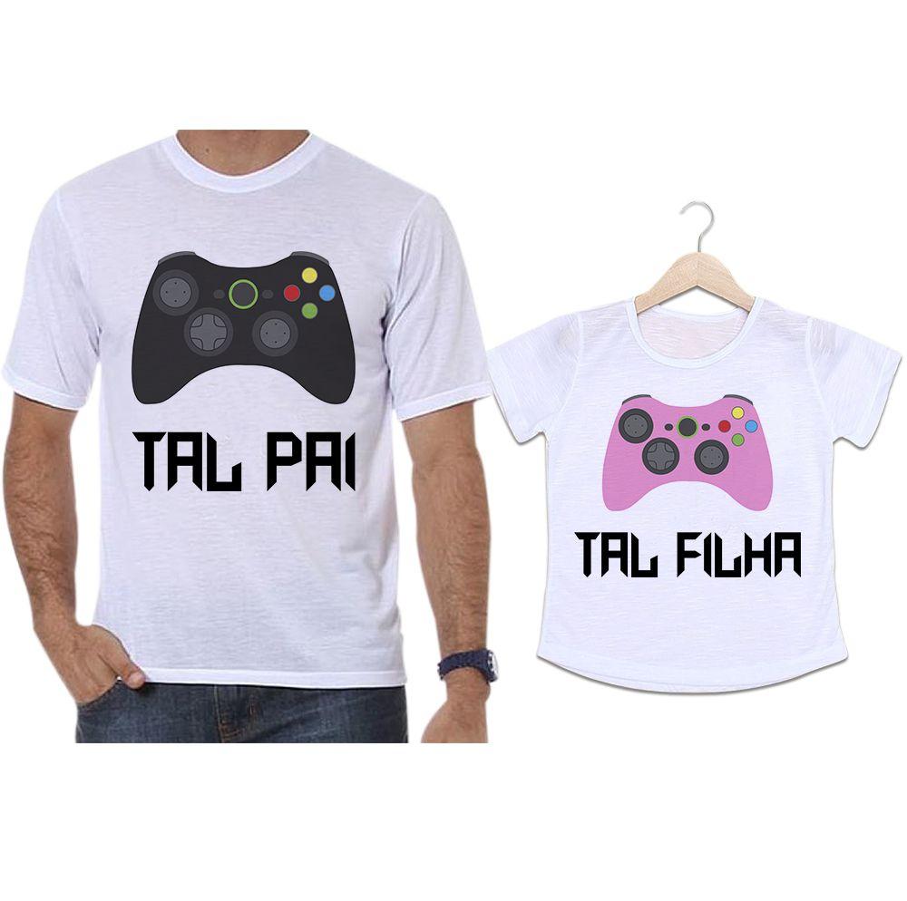 Camisetas Tal Pai Tal Filha Controle Vídeo Game X Box
