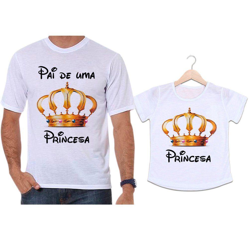 Camisetas Tal Pai Tal Filha Coroa Dourada Pai de uma Princesa