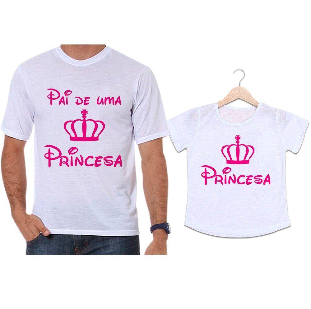 Camisetas Tal Pai Tal Filha Coroa Rosa Pai de uma Princesa