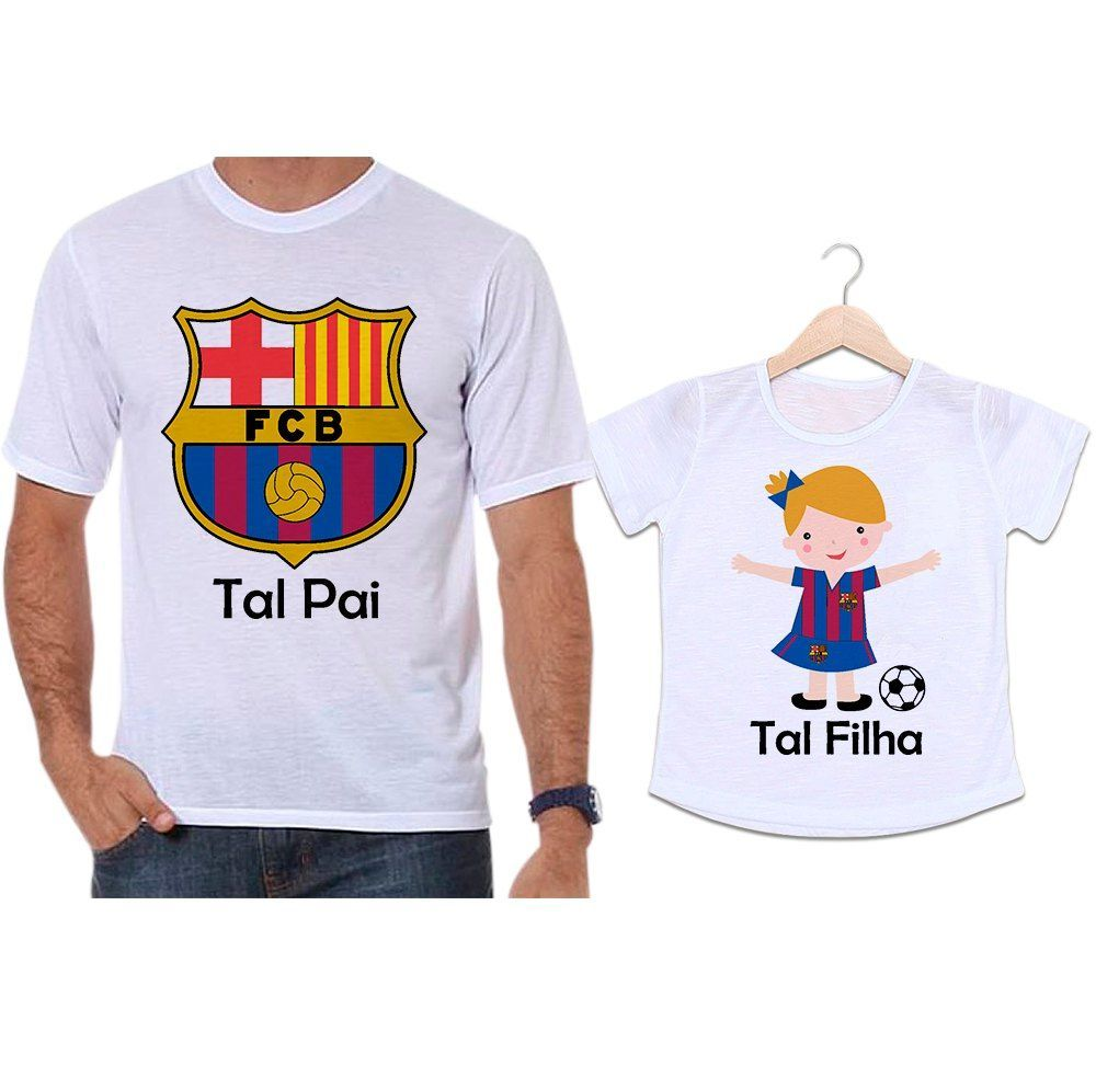 Camisetas Tal Pai Tal Filha Futebol Time Barcelona