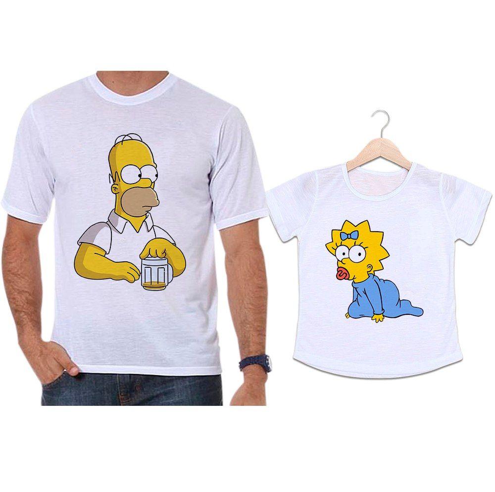 Camisetas Tal Pai Tal Filha Homer e Meg Simpsons