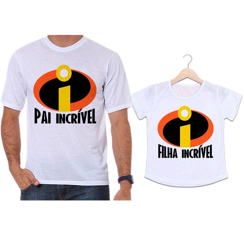 Camisetas Tal Pai Tal Filha Super Herói Os Incríveis Pai Incrível e Filha Incrível