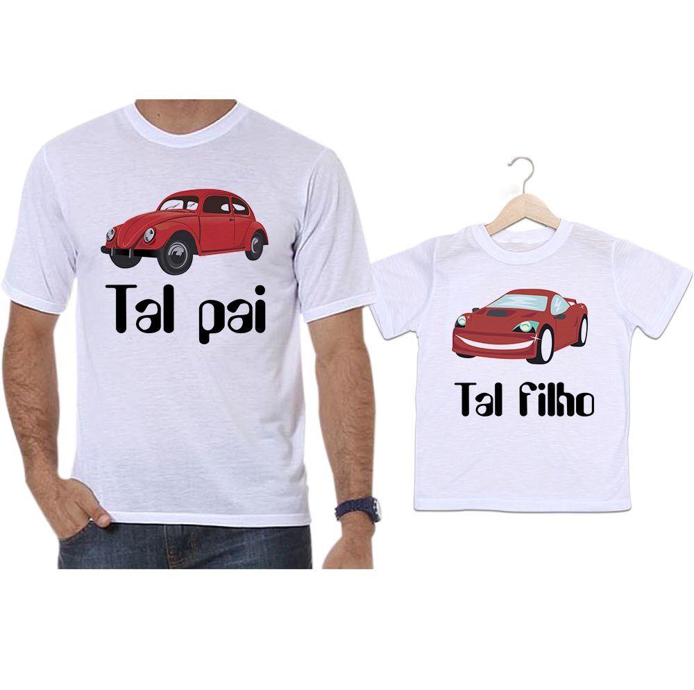 Camisetas Tal Pai Tal Filho Carros Fusca Vermelho