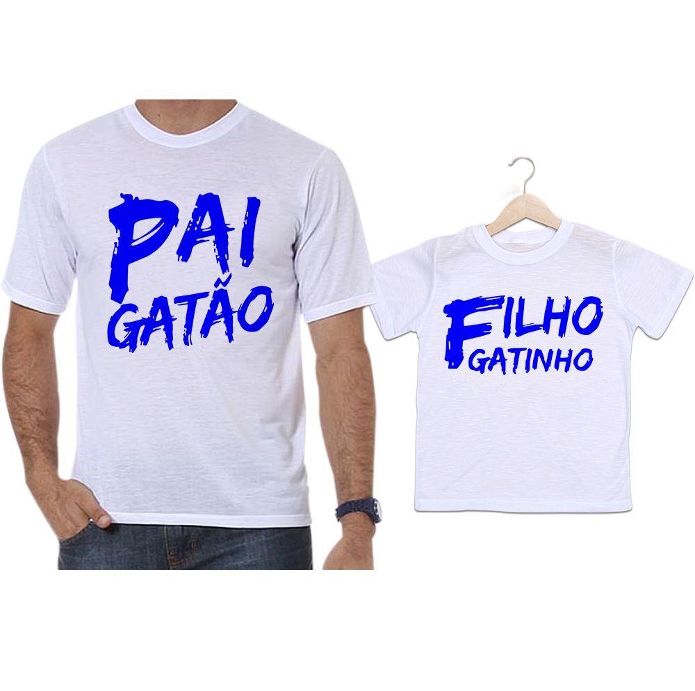 Camisetas Tal Pai Tal Filho Pai Gatão e Filho Gatinho