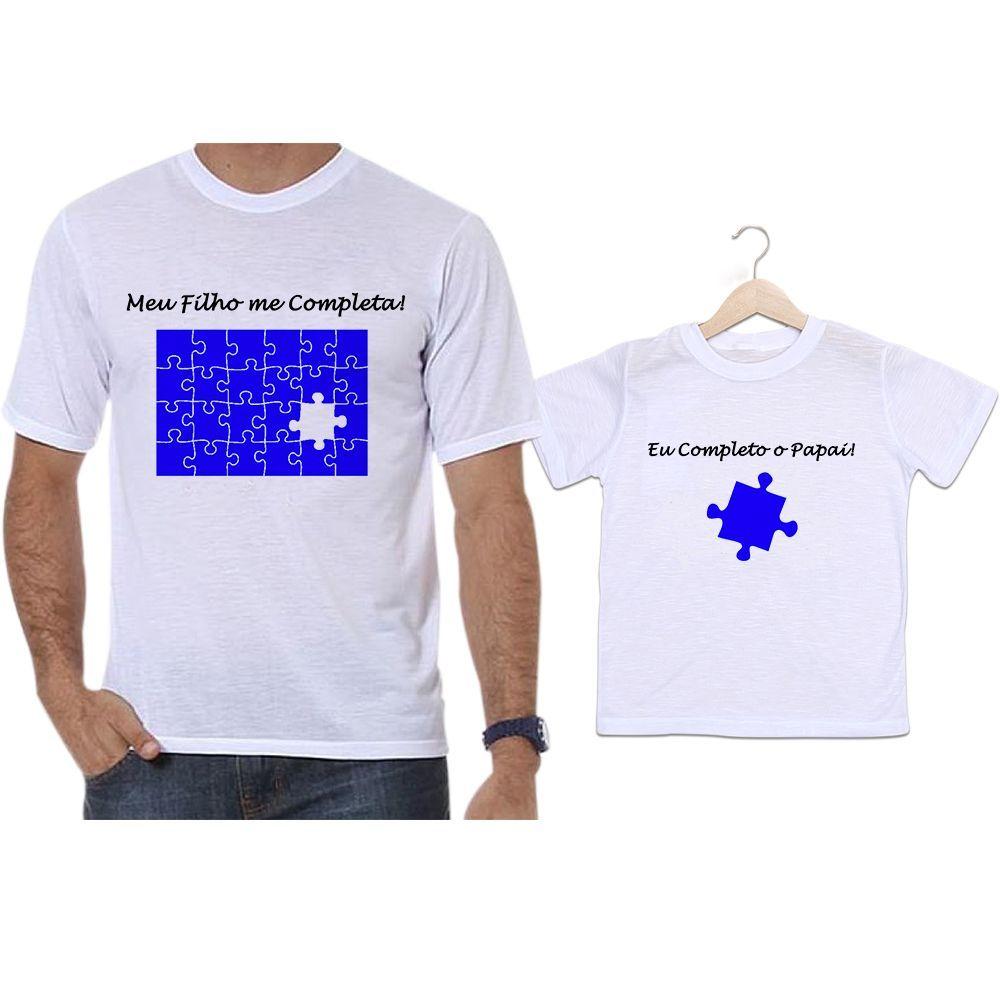 Camisetas Tal Pai Tal Filho Quebra Cabeça Azul Meu Filho Me Completa