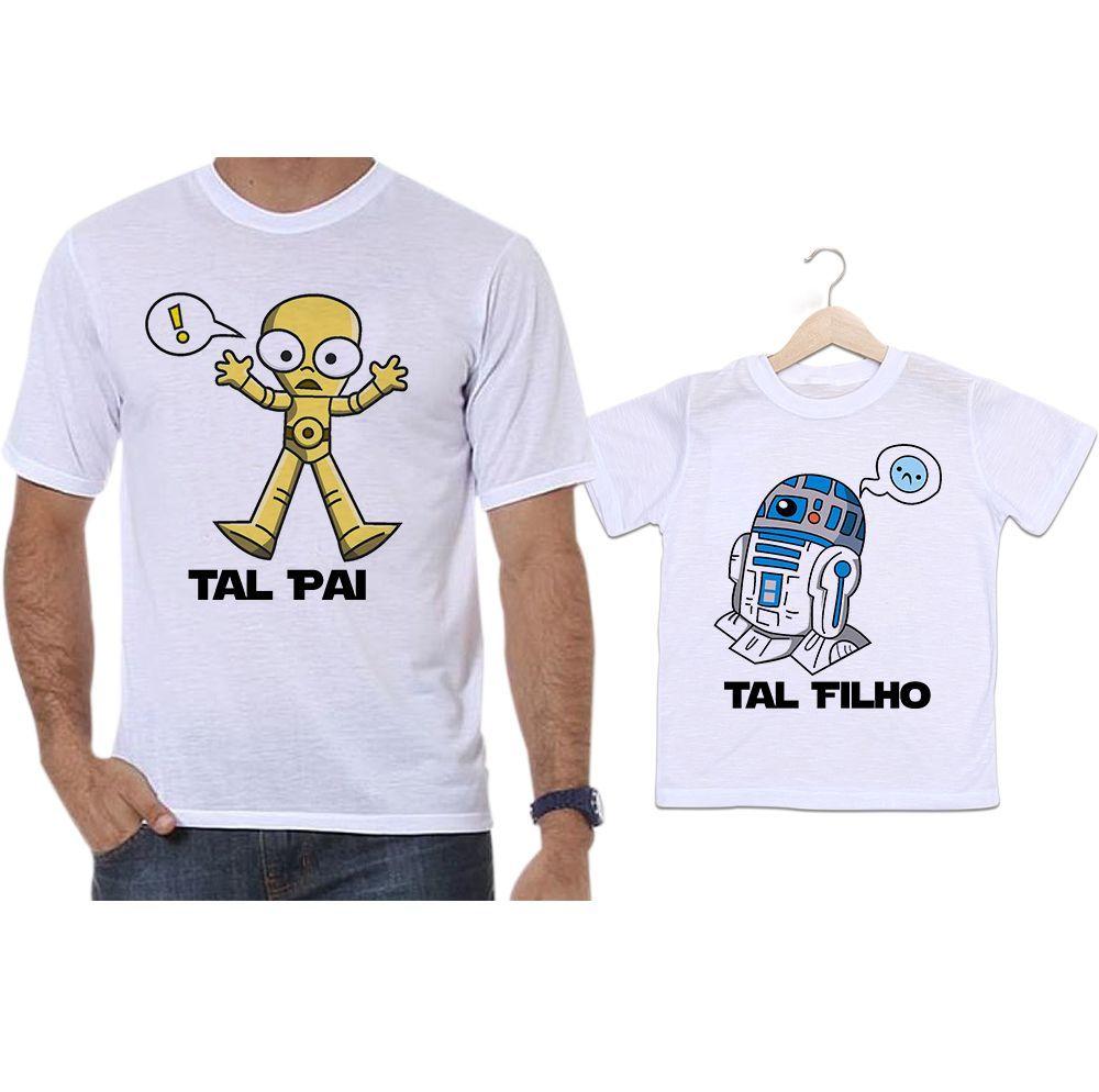 Camisetas Tal Pai Tal Filho Star Wars Robôs C-3PO e R2-D2
