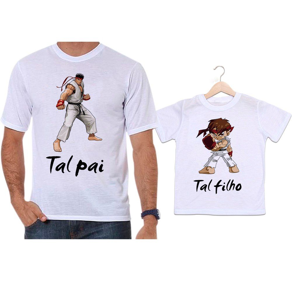 Camisetas Tal Pai Tal Filho Street Fighter Ryu Chun li