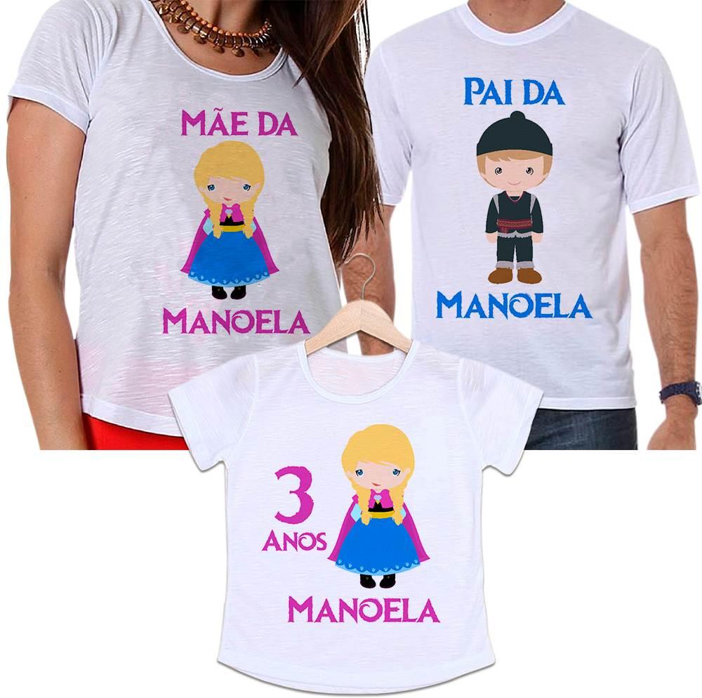 Camisetas Tal Pai, Tal Mãe e Tal Filha Aniversário Personalizada Frozen