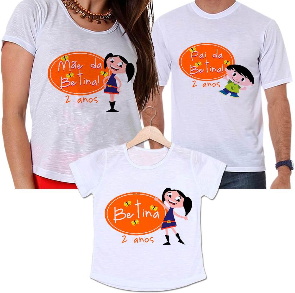 Camisetas Tal Pai, Tal Mãe e Tal Filha Aniversário Personalizada Show da Luna