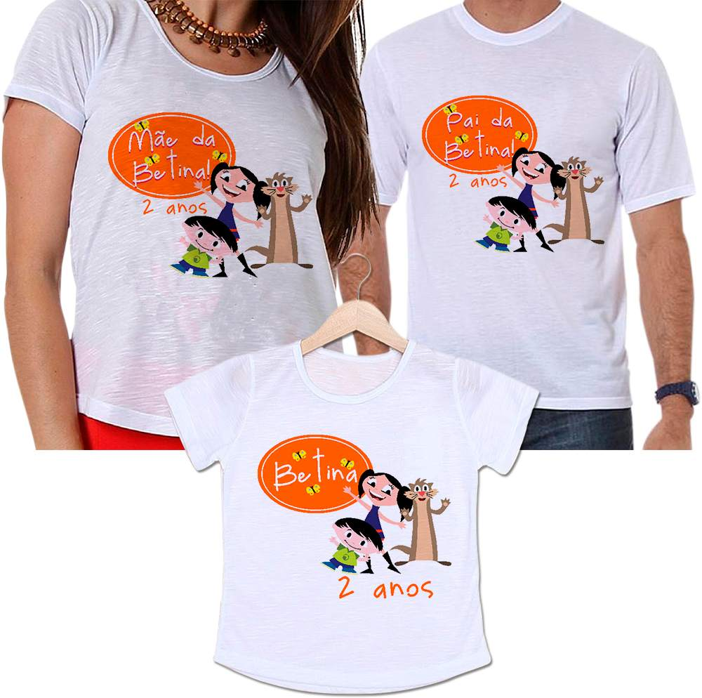 Camisetas Tal Pai, Tal Mãe e Tal Filha Aniversário Personalizada Show da Luna Divertida