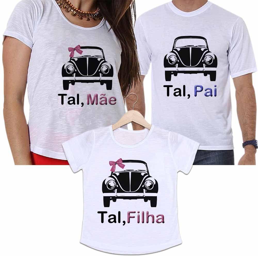 Camisetas Tal Pai, Tal Mãe e Tal Filha Carros Fusca Preto