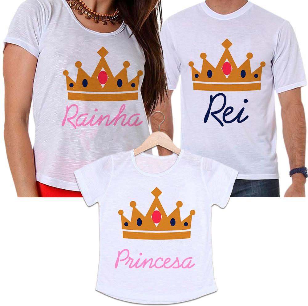 Camisetas Tal Pai, Tal Mãe e Tal Filha Coroa Rei, Rainha e Princesa