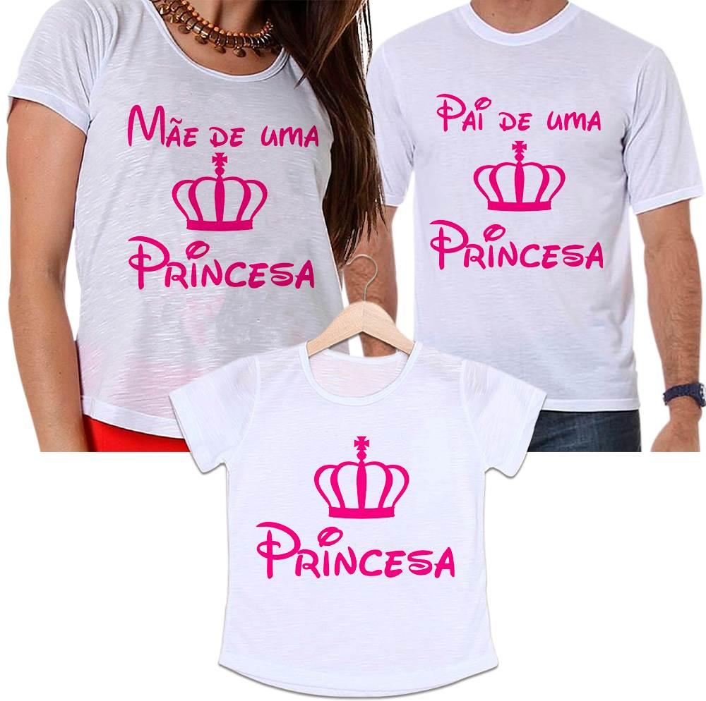Camisetas Tal Pai, Tal Mãe e Tal Filha Coroa Rosa - Mãe e Pai de Uma Princesa