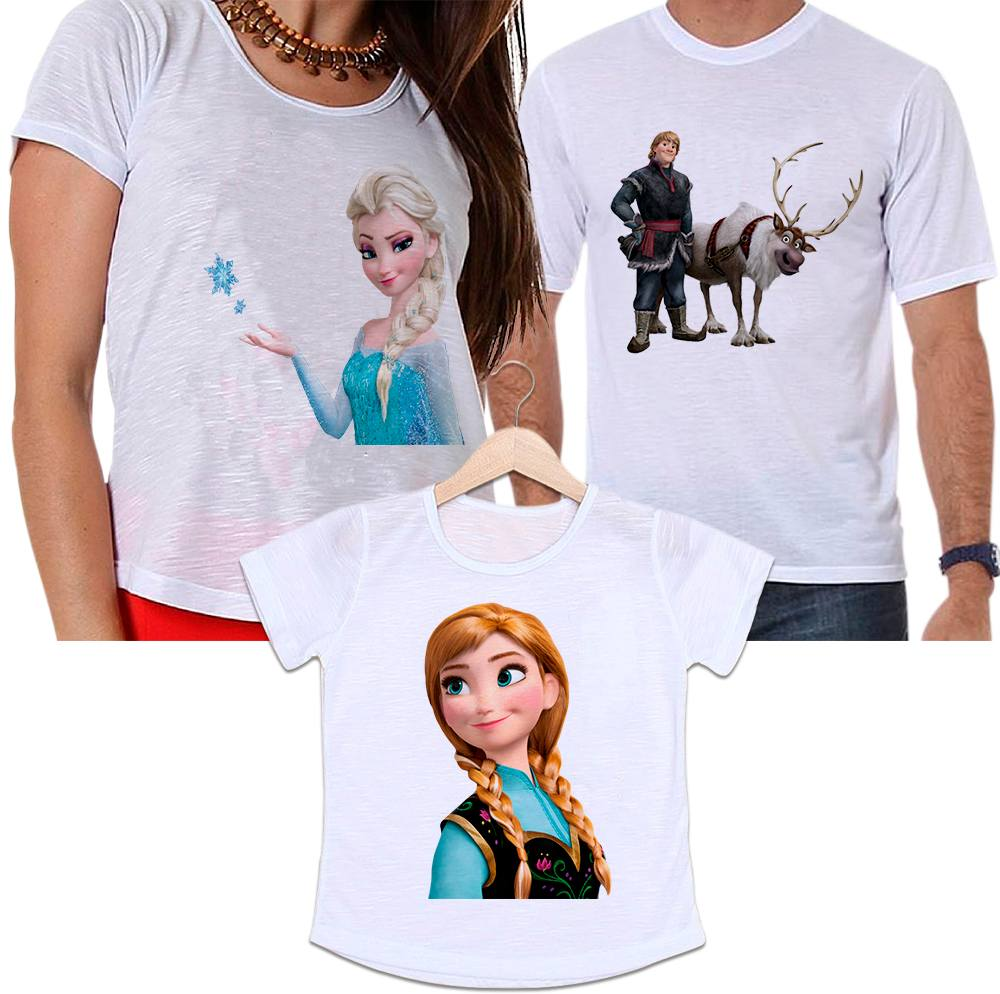 Camisetas Tal Pai, Tal Mãe e Tal Filha Frozen - Kristoff, Elsa e Anna