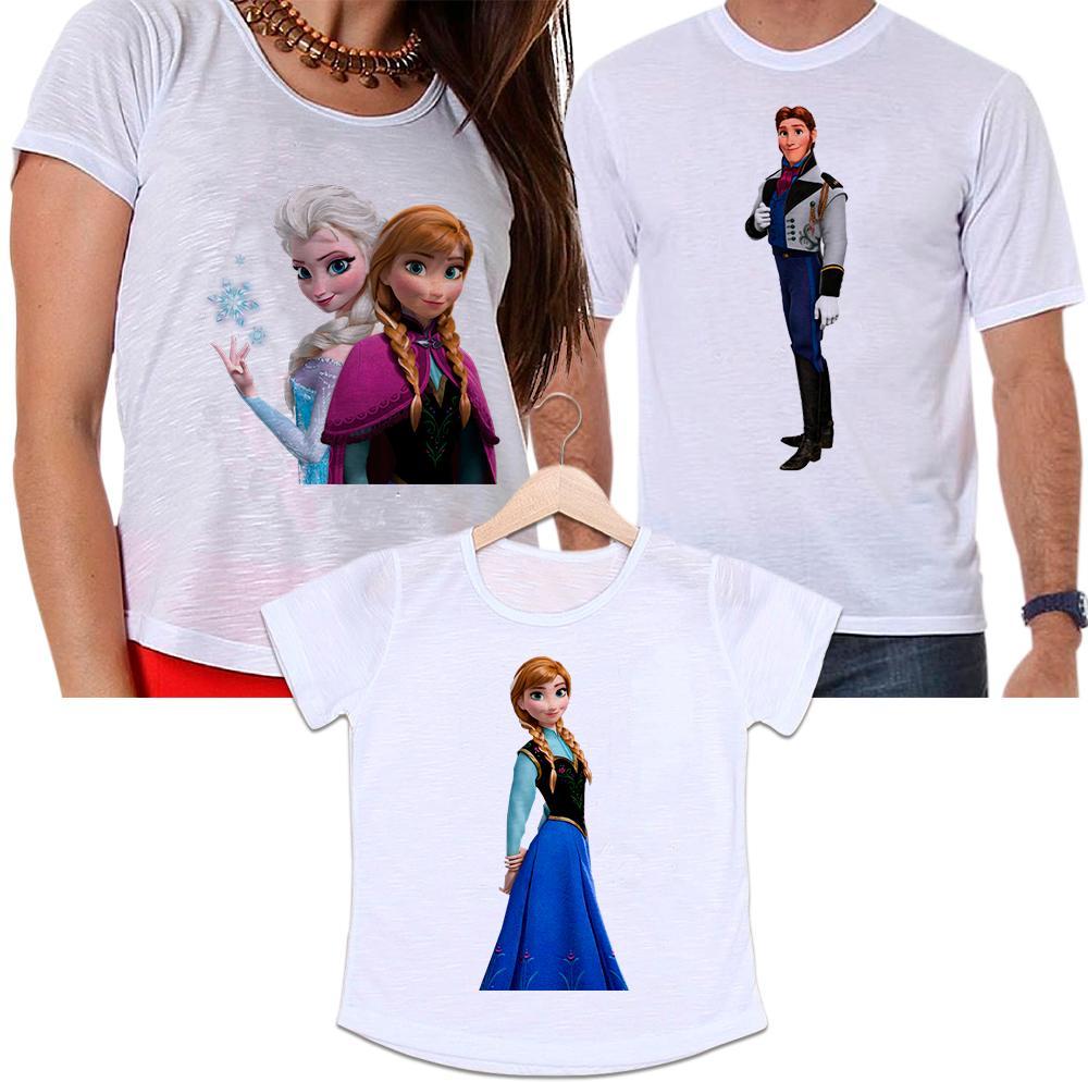Camisetas Tal Pai, Tal Mãe e Tal Filha Frozen - Príncipe, Elsa e Anna