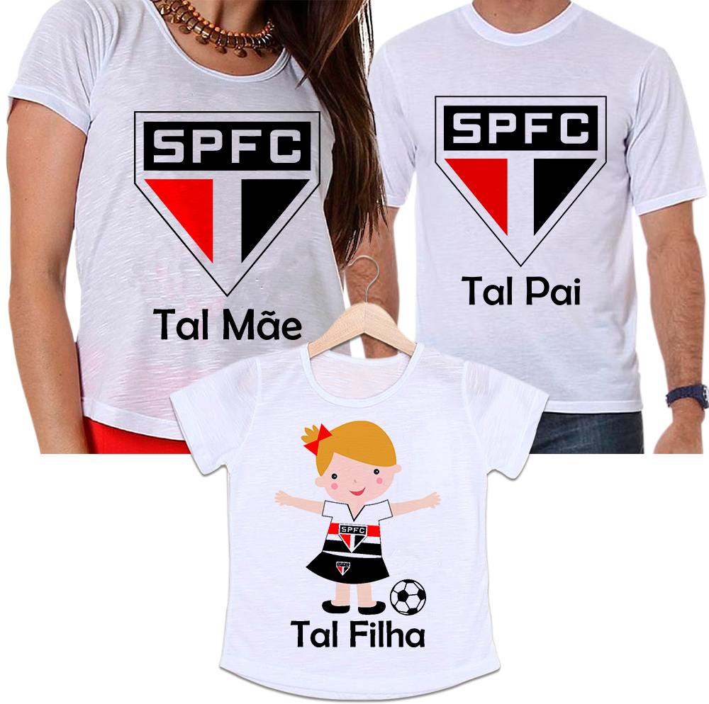 Camisetas Tal Pai, Tal Mãe e Tal Filha Futebol Time