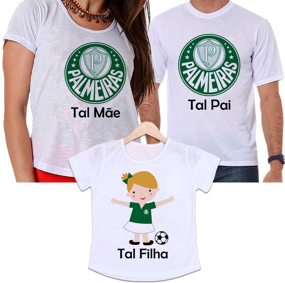 Camisetas Tal Pai, Tal Mãe e Tal Filha Futebol Time Palmeiras