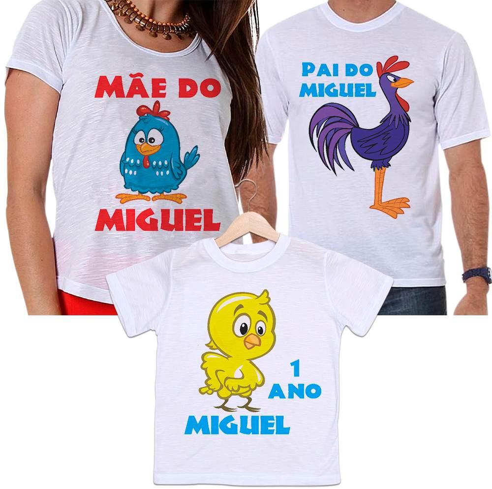 Camisetas Tal Pai, Tal Mãe e Tal Filho Aniversário Galinha Pintadinha Personalizada