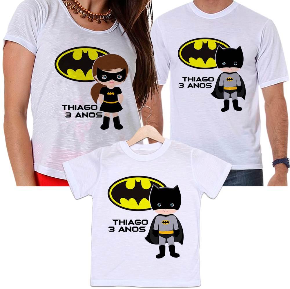 Camisetas Tal Pai, Tal Mãe e Tal Filho Aniversário Personalizada Batman