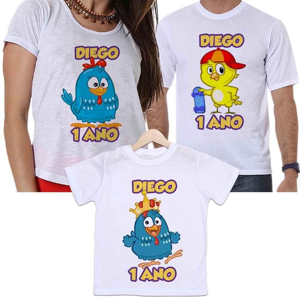 Camisetas Tal Pai, Tal Mãe e Tal Filho Aniversário Personalizada Desenho Galinha Pintadinha